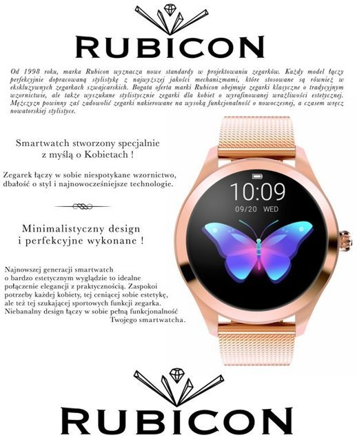 SMARTWATCH Rubicon - Rose Gold (zr604a)