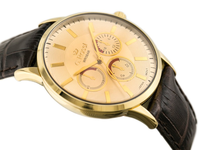 ZEGAREK GINO ROSSI - CLINTON (zg007j) gold/brown + BOX