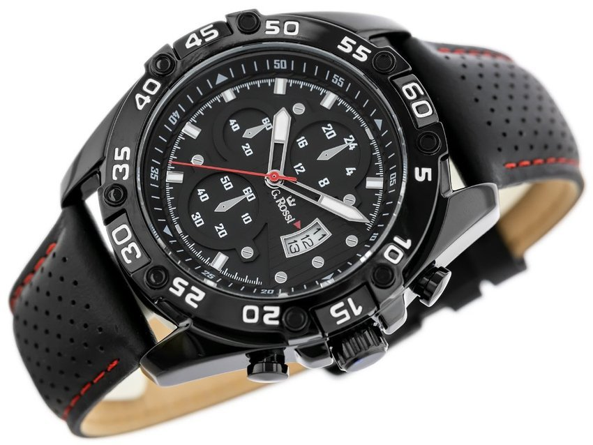 ZEGAREK GINO ROSSI - QUBUS  (zg113a) black/red + BOX