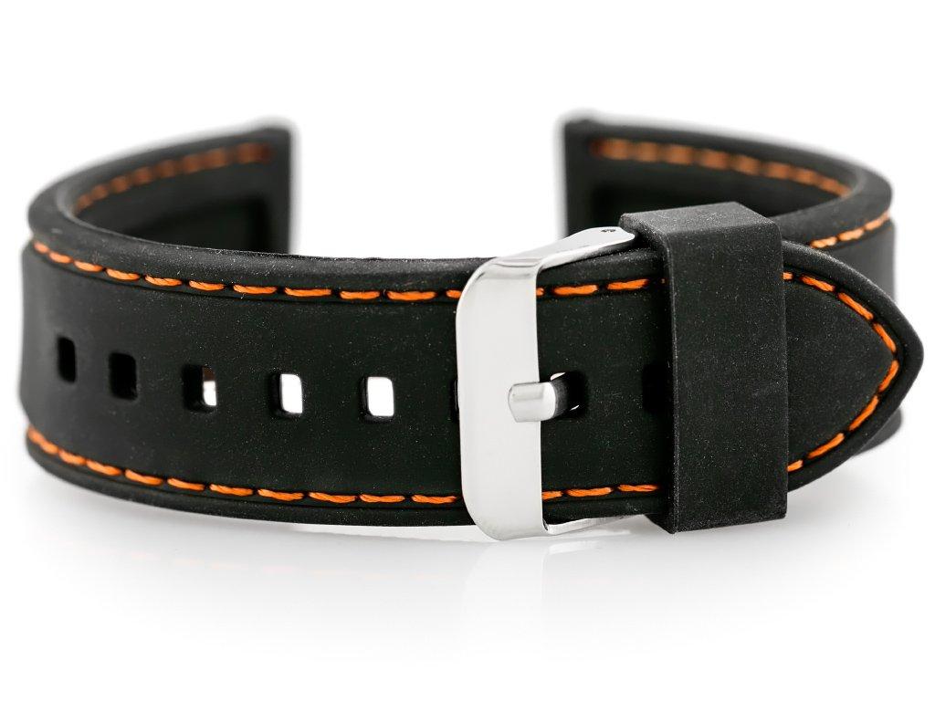 c33ca378eb15fe Pasek gumowy do zegarka - przeszywany czarny/pomarańczowe 22mm   AKCESORIA  \ PASKI   Tayma - najładniejsze zegarki w sieci!