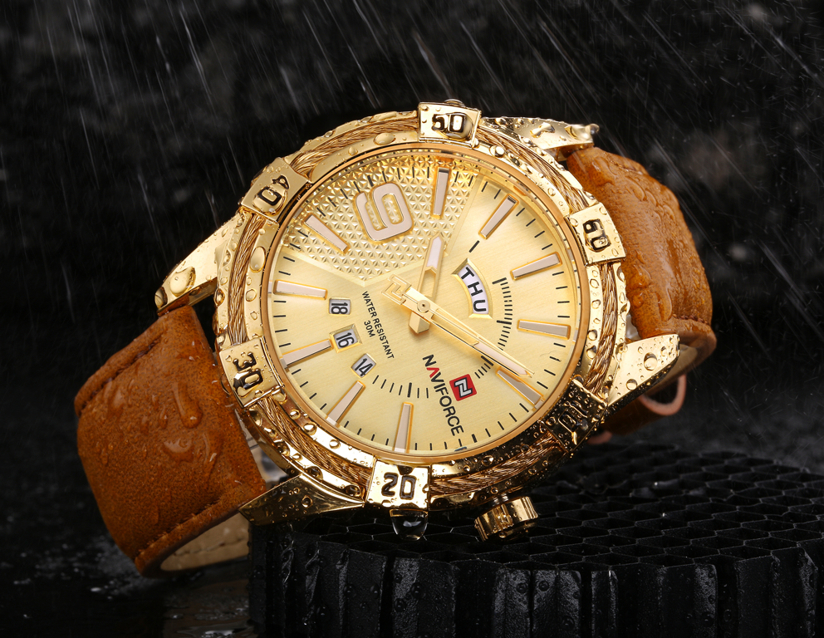 ZEGAREK MĘSKI NAVIFORCE - NF9117L (zn069d) - brown/gold + box