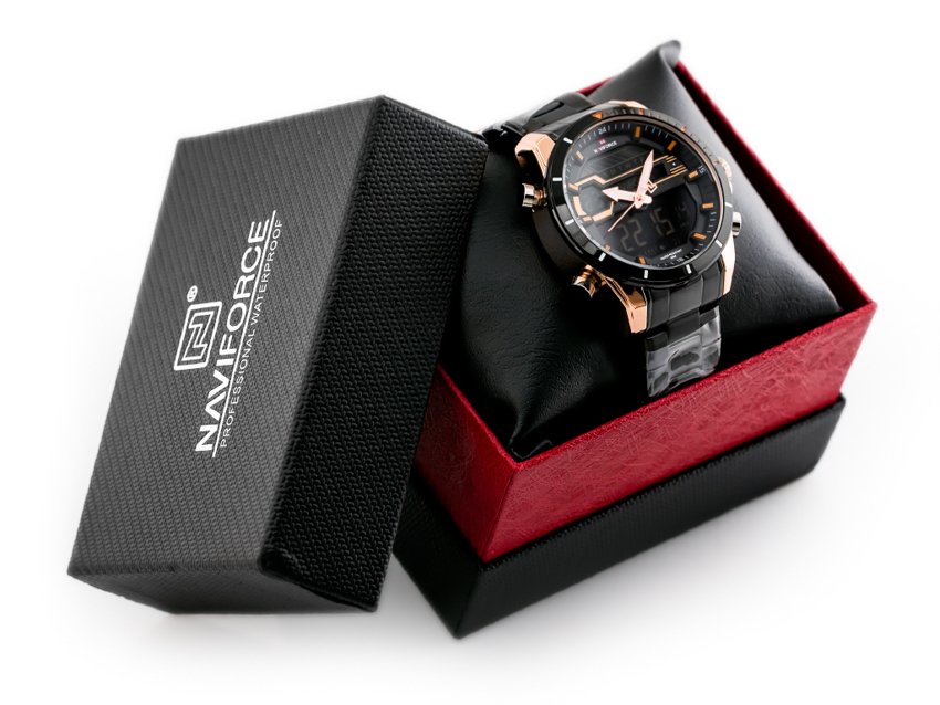 ZEGAREK MĘSKI NAVIFORCE - NF9133 (zn074e) - black/rose + box