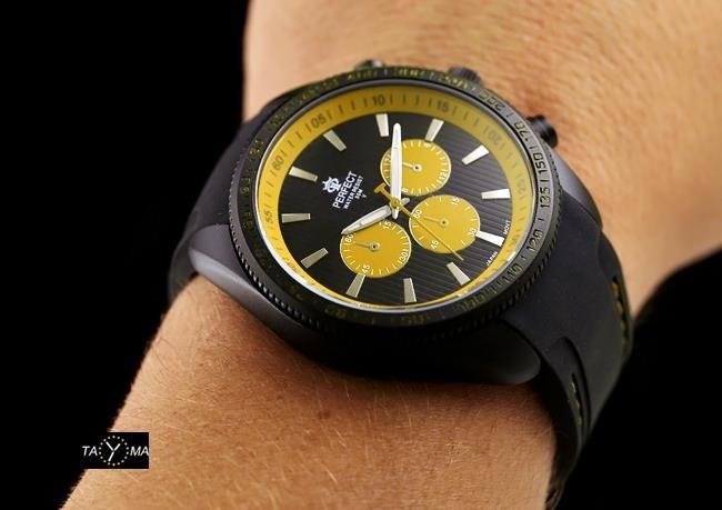 ZEGAREK MĘSKI PERFECT Y2180 - black/yellow   (zp107d)