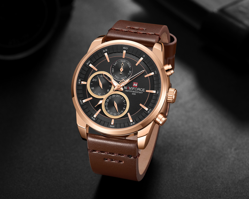 Zegarek NAVIFORCE - NF9148 (zn085c) brown/rg + BOX